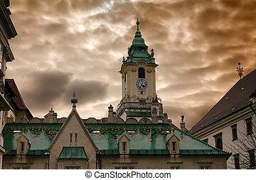 Town hall and dramatic cloudy sky in Bratislava, Slovakia