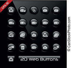 E-mail icons -- Black Label Series - Vector buttons for your...