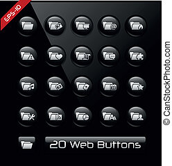Folder Icons 2 - Black Label Series - Vector buttons for...