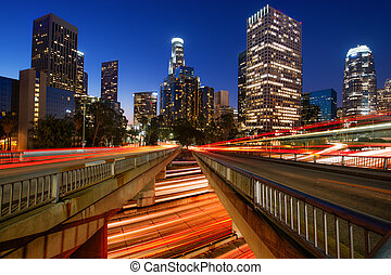 Downtown Los Angeles - Downtown skylines lit up at night,...