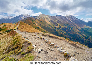 High mountains in Europe. Tourists on trail in Tatras,...