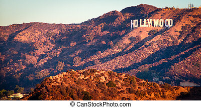 Hollywood Sign from Griffith Observatory at sunrise,...