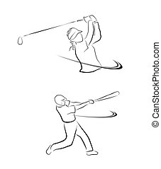 Golf And Softball Sport Symbol Coll