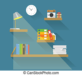 Different objects on book shelves. Flat design elements