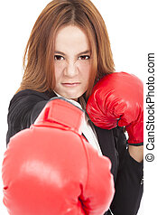 angry Businesswoman boxing punching towards and ready to...