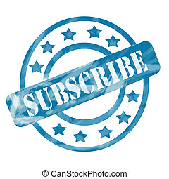 Blue Weathered Subscribe Stamp Circles and Stars