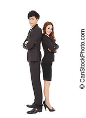 full length smiling business man and woman standing together