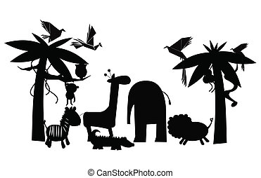 jungle friends outline - animals from the jungle gathering...