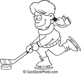 Cartoon Girl Playing Ice Hockey (Bl - Black and white...
