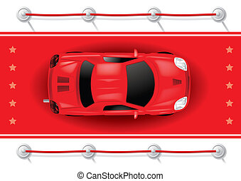 Car Top View on Red Carpet - Vector