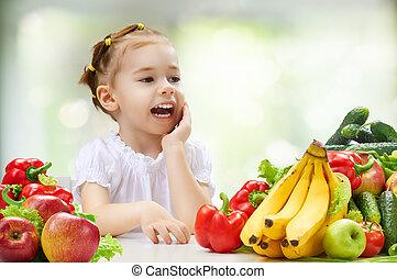 fresco, fruta, comer