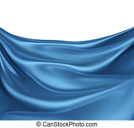 blue silk waves - abstract background with blue silk waves