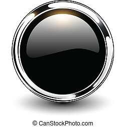 Black button - Black shiny button with metallic elements,...