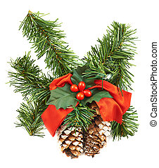 Fir-tree branch christmas decoration isolated over white...