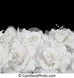Artificial white roses background - Artificial white roses...