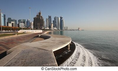 Doha Corniche, Qatar - Waterfall at the Doha Corniche,...