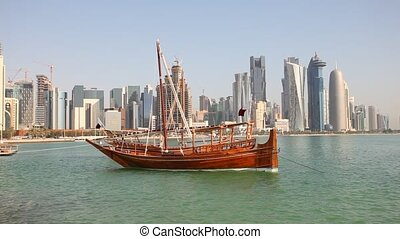 Arabic dhow in Doha, Qatar - Traditional arabic dhow in Doha...