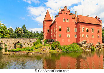 Red water chateau Cervena Lhota in Southern Bohemia, Czech...