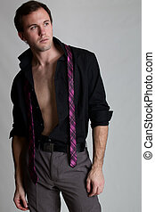 Well Dressed Man... Undressing - Young adult man with shirt...