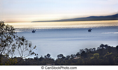 Oil Well Platforms Morning Pacific Oecan View East Mountain Road Channel Islands Santa Barbara California