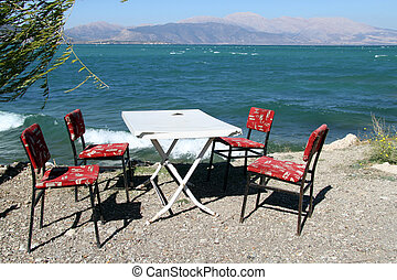 Windy day and table on the lake Egirdir, Turkey