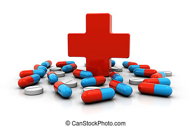 medical cross symbol with pills