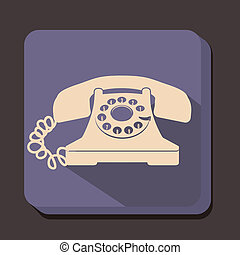 Rotary phone - illustration of a rotary phone, balck color,...