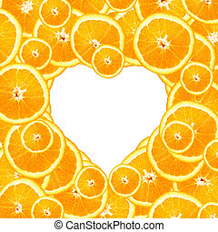 Sweet Orange Slices in a Heart Background - Overlapping...