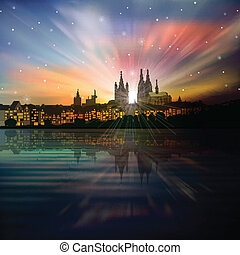 abstract background with silhouette of cologne and sunrise -...