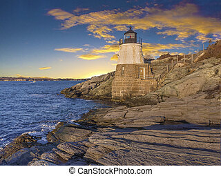Light house located off the coast of Cape Cod,...