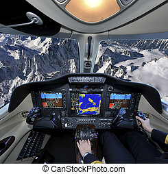 Flying over the Alp - View of Mount Blanc's top from the...