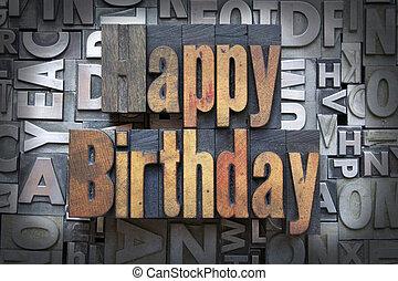 Happy Birthday written in vintage letterpress type