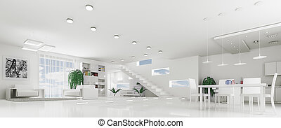 Interior of modern white apartment panorama - Interior of...