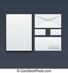 Blank envelope, business card and paper - Blank stationery...