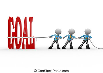 """Goal - 3d people - man, person pulling a rope. Word """"goal"""""""