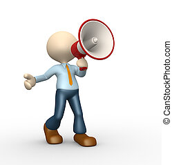Megaphone - 3d people - man, person with a megaphone