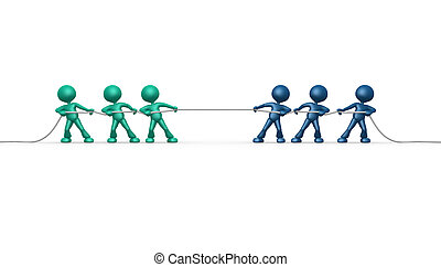 Clipping path included - 3d people - men, person rope...