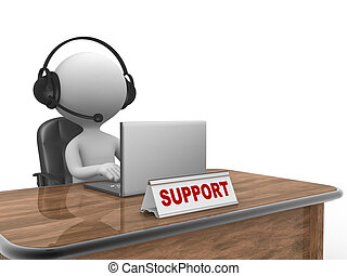 Support - 3d people - man, person with headphone and a...