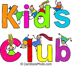 kids club - Cute children climbing over the words KIDS CLUB.