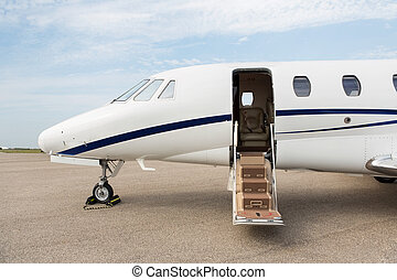 Business Jet With Open Door - Business jet with open door...