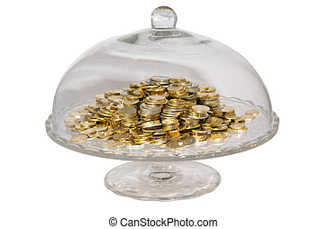 Glass cake stand with coins - Euro mixed coins in a glass...