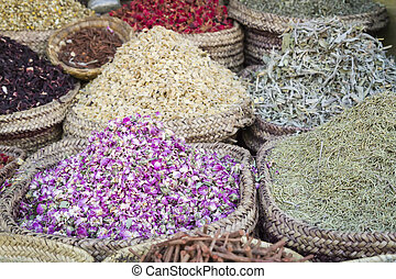 Moroccan spices - Dried herbs flowers and spices in the...