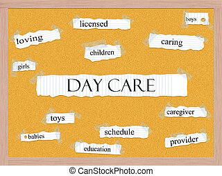 Day Care Corkboard Word Concept with great terms such as...