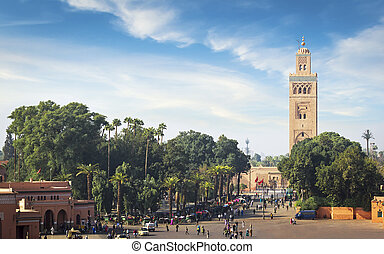 Mosque of the Marrakech - Koutoubia - the largest mosque of...