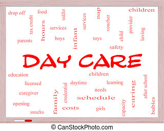 Day Care Word Cloud Concept on a Whiteboard with great terms...