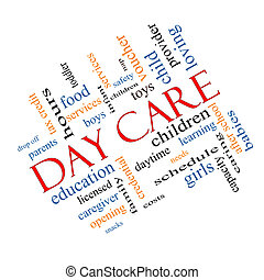 Day Care Word Cloud Concept Angled - Day Care Word Cloud...