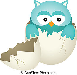 Blue Baby Owl in Egg - Scalable vectorial image representing...