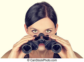 observe - woman is using a spyglass