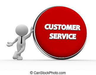 Customer service - 3d people - man, person with a button....