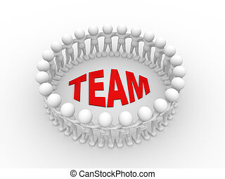 Concept of team - 3d people - man, person together. Concept...